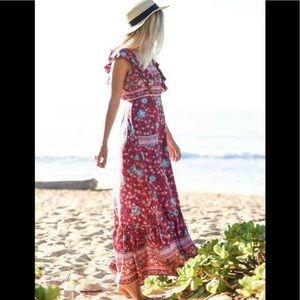 Spell & The GypsyFolk Town Frill Maxi Dress Wine